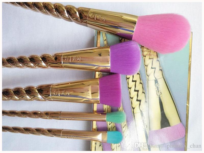 Makyaj fırçaları seti kozmetik fırça 5 parlak renk Ücretsiz nakliye altın Spiral incik makyaj fırçası boynuzlu at vida makyaj malzemelerimi gül