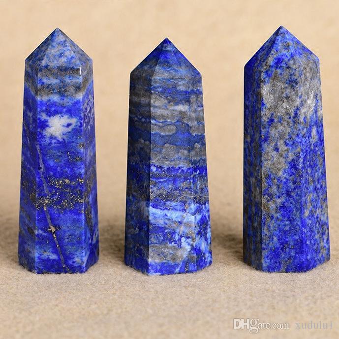 Природные лазурит украшения один столб фэн-шуй украшения шесть призма палочка точки исцеления