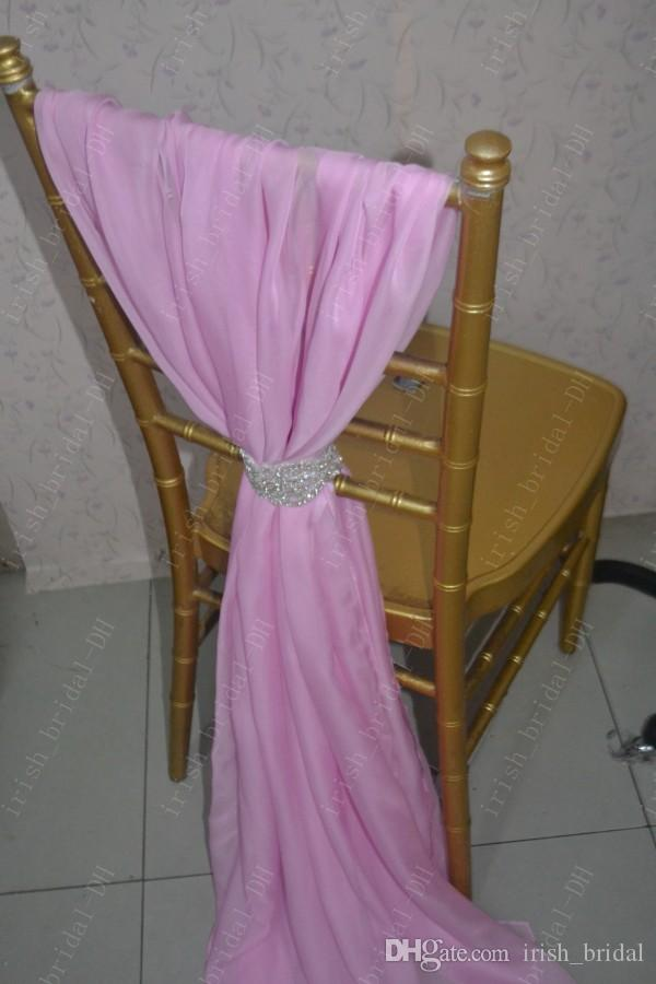 2016 Custom Made Hot Pink Chiffon Chair Covers Romantic Beautiful Crystals Chair Sashes Cheap Wedding Chair Decorations 011