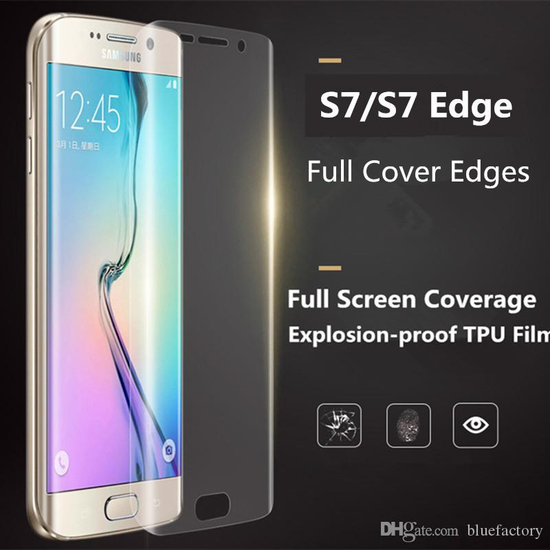 promo code aaced e18e4 Full Cover Curved Screen Protector for Galaxy S7 edge 3D Coverage Soft TPU  Clear Crystal Anti-Shock Film for Samsung S6 S7 Edge Plus