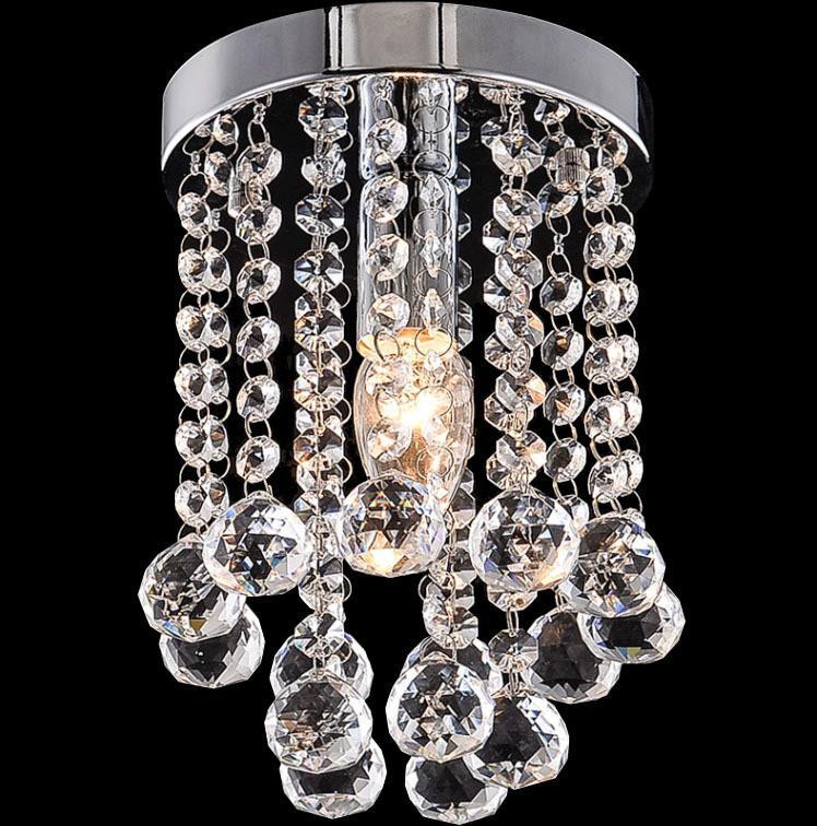 15/20/25cm Crystal Chandelier Light Mini Ceiling Lamp Fixture Small Clear Crystal Lustre Lamp for Aisle Stair Hallway Corridor Porch Light
