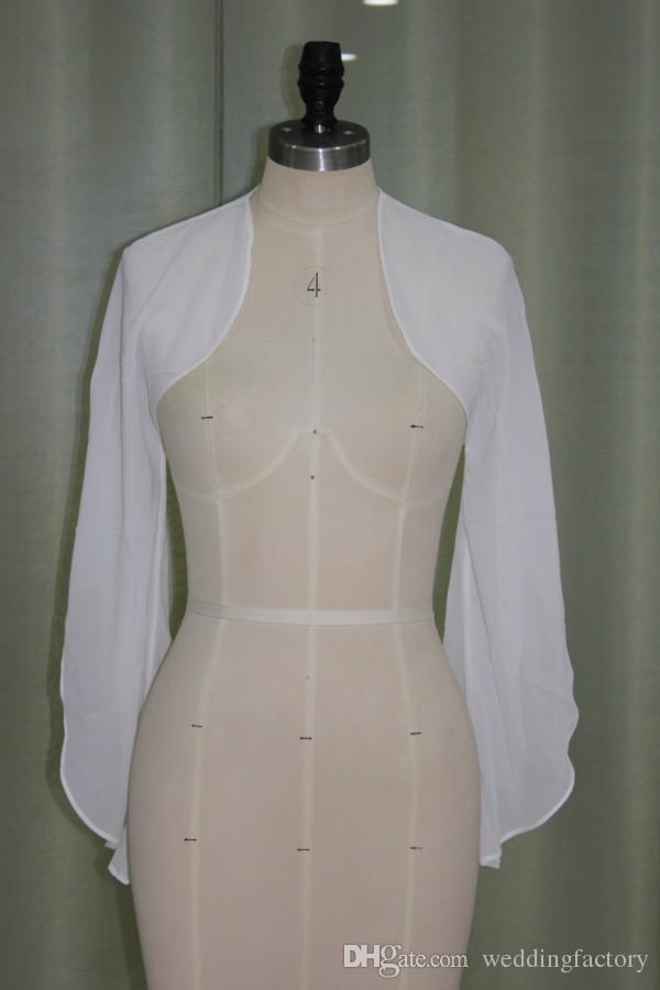 Cheap Chiffon Bolero Jacket with Bell Sleeves Real Picture Wedding Party Boleros Jackets Custom Made