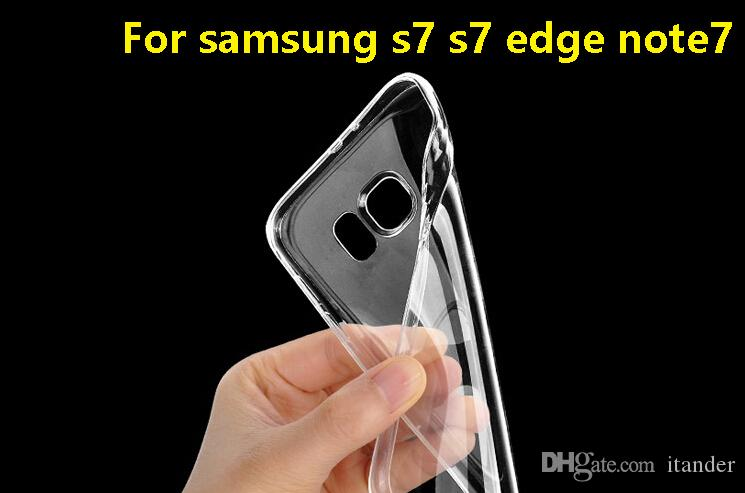 Cell Phone Cases For Samsung S7 S7 edge Note 7 Ultra Thin Crystal Transparent Soft TPU Silicone Cover+Retail box