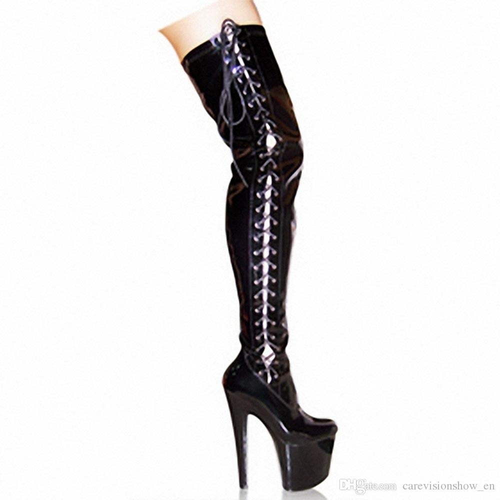 cec0e551ec5 Customized Extreme High Heel 20cm Women Shoes Boots 8High Heel Sexy Thigh  High Black Patent Lace Up Gogo Style Boots For Women D0142 Biker Boots Boots  For ...