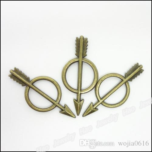 送料無料卸売50ピース3色チベットトーンシルバー/ブロンズ/ゴールド合金キューピッドの矢印チャームペンダントTS10105