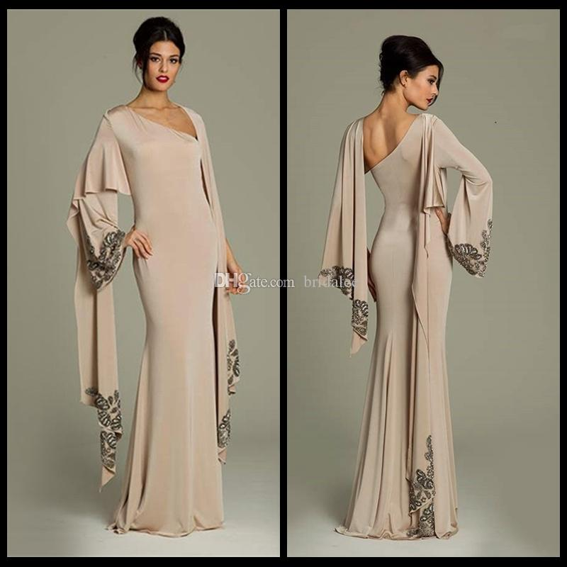 6f46b334e0 2017 Muslim Evening Dresses Long Sleeves Champagne Chiffon Hijab Islamic  Dubai Abaya Kaftan Long Evening Gown Party Dress