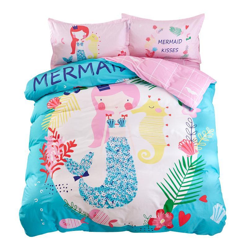 db291494818666 Mermaid Sheet Pillowcase Duvet Cover Sets Twin Single Queen Size Cartoon  Kids Teens Bedding Set 3/Bedlinen 100% Cotton Online with $202.85/Piece on  ...