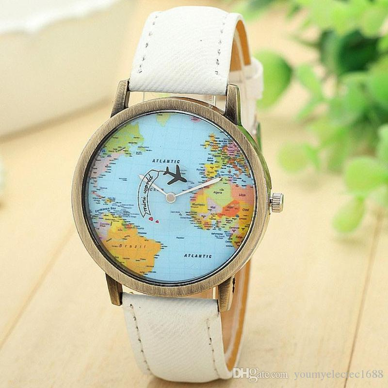 Fashion vintage retro world map watches women wristwatch leather fashion vintage retro world map watches women wristwatch leather strap clock women ladies watch map reloj mujer relogio feminino affordable watches good gumiabroncs Gallery