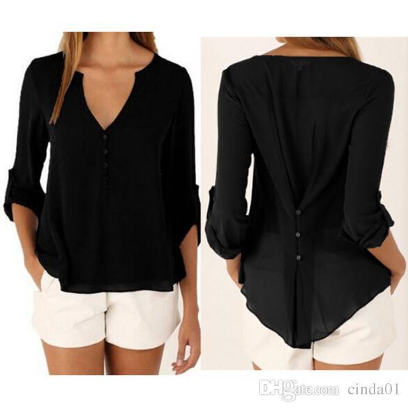 Kadınlar Artı Boyutu Zarif V Yaka Tops Rahat Moda Bluzlar Uzun Kollu Şifon Sonbahar İlkbahar Yaz Tees