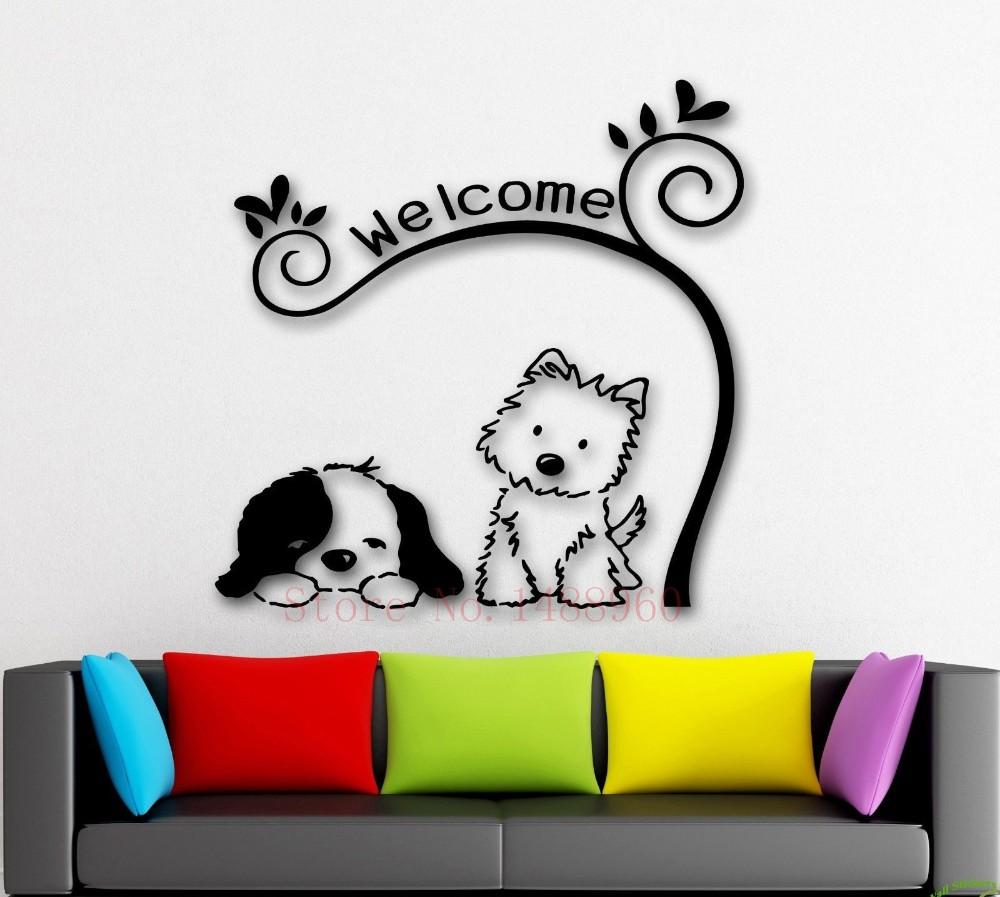 Wall stickers cat - E241 Cute Animal Welcome Diy Dog Cat Mural Pet Shop Spa Grooming Salon Veterinary Wall Decal Wall Stickers Vinyl Art Home Decor