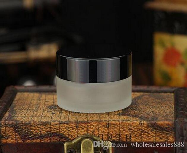 Krem Şişe, 20g Doldurulabilir Şeffaf Buzlu Cam Kozmetik Krem Kavanoz Pot Şişe Konteyner Altın Gümüş veya Siyah DHL Tarafından 100 Adet / grup Caps