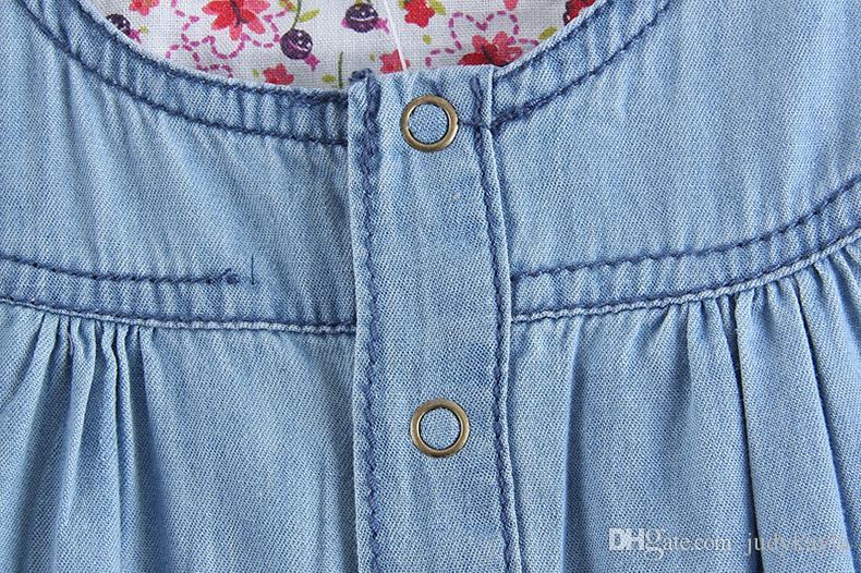 2016夏の新しい赤ちゃんの女の子デニムジャンプスーツのスカート子供カウボーイのズボンのショートパンツベルト子供の結合ズボンかわいい女の子のワンピースロンパース