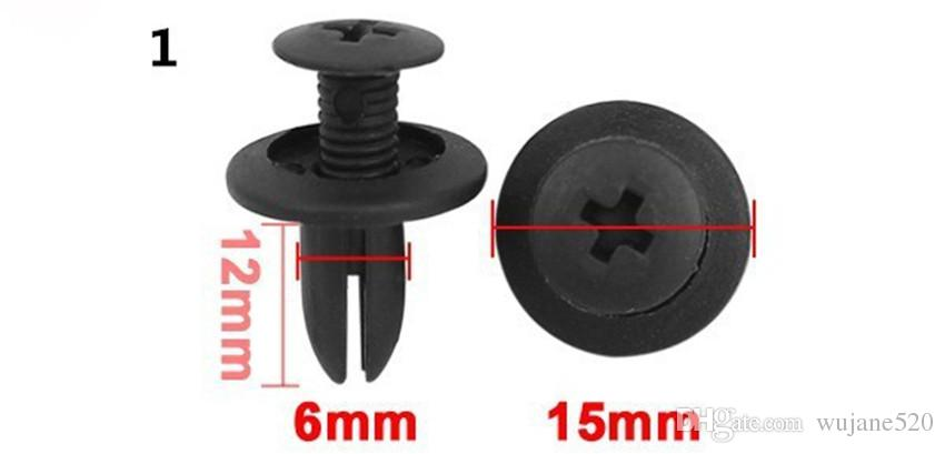 Black Nylon Rivets Clips Bumper and Fender Clips Fasteners Push Type for Auto Car Assorted Size 6mm/ 8mm