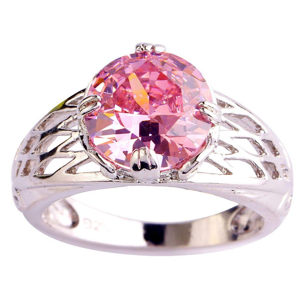 Hollow Out Fashion Jewelry Pink Topaz 18K White Gold Plated Silver ...