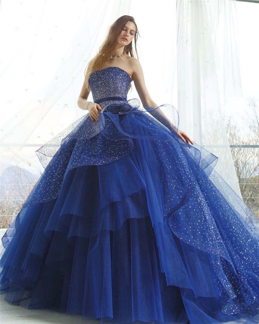 Großhandel Ballkleid Quinceanera Kleider Schulterfrei Pailletten Blau  Quinceanera Kleid Bänder Tüll Ärmellos Bodenlang Elegant Abendkleid Von  Shufti,