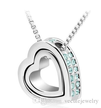 63945a667 Wholesale New Fashion Hot Sale Crystal Heart Necklace Made With Swarovski  Elements For Women Ladies Jewelry Necklaces Wedding Sets Nice Gift Mom  Pendant ...