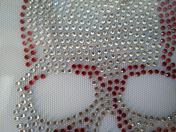 Hotfix Rhinestone Iron On Transfers Big Crystal/Red Skull Motifs DIY For t shirt