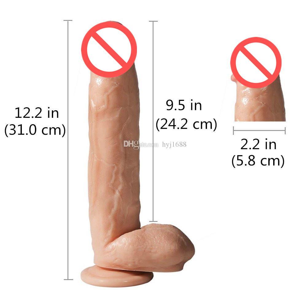 12.2 pollici Super soft Thick Dildo enorme Extreme Big Dildo Realistico Robusto ventosa Pene Dick prodotto del sesso le donne Giocattoli del sesso