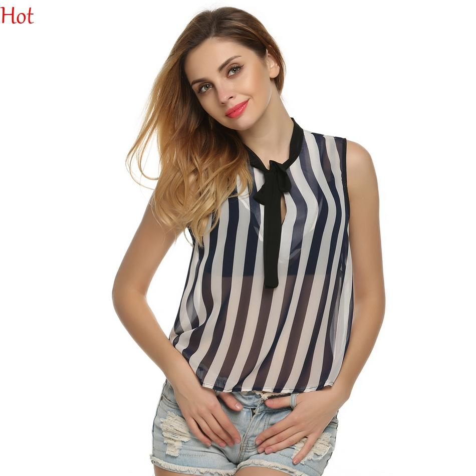 600766a14d1dda 2019 New Korean Style Fashion Striped Blouse Women Clothing Sheer Sexy Bow  Knot Sleeveless Striped Shirts Chiffon Blouse 2016 Slim Tops YC000622 From  ...