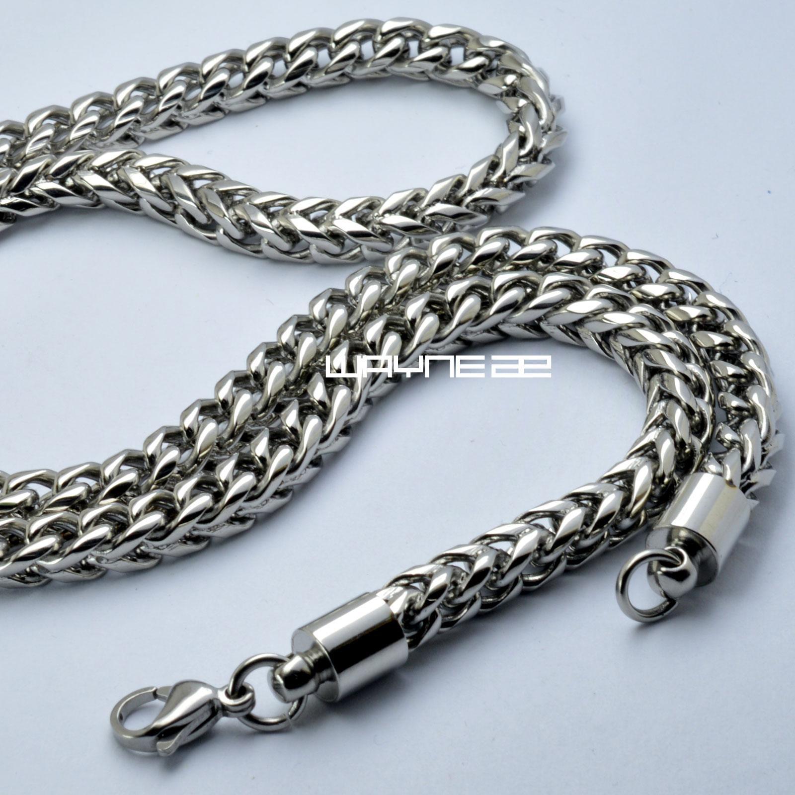 n303-Gioiello a maglie con pendente in acciaio inossidabile pesante da 23,6 pollici color argento