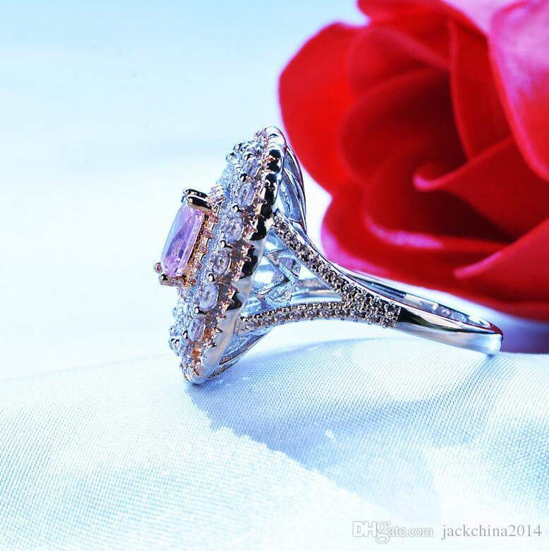 I più venduti gioielli di lusso a mano in oro bianco 18 carati riempito cuscino forma rosa zaffiro diamante cz pietre preziose donne anello di fascia di nozze corona
