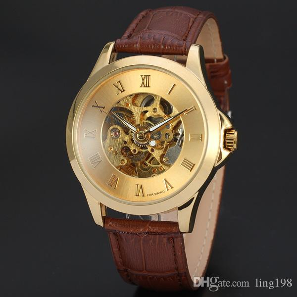 High-end men Roman numerals simple hollow three-pin back through the automatic mechanical belt watches D185