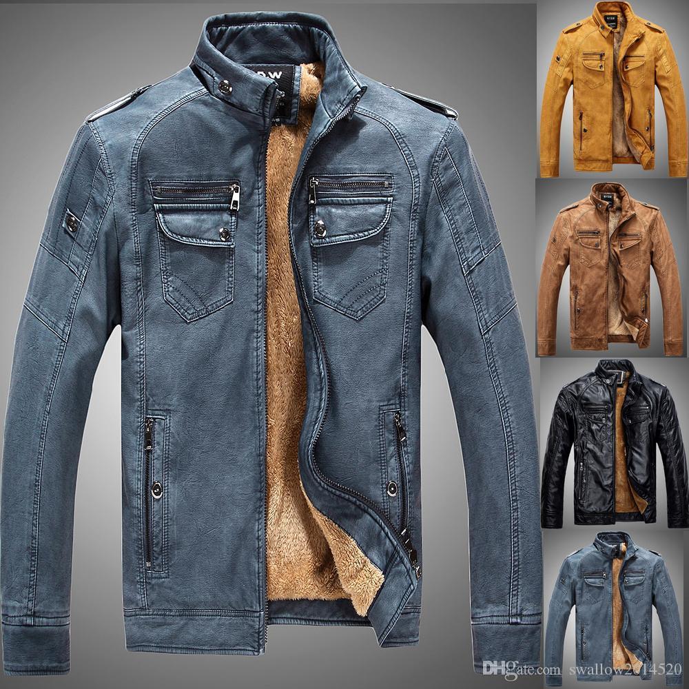 Denim Color New Winter Leather Jacket Mens Coats Fur Inside Men