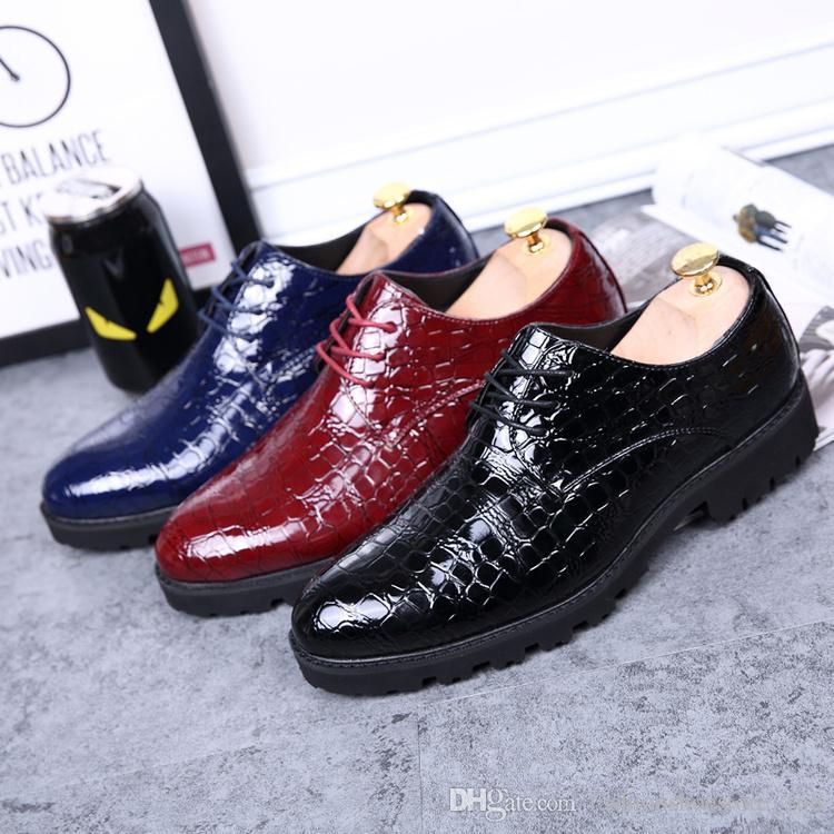 fd9ef76d97f Mens Patent Leather Shoes Lace Up Crocodile Skin Shoes Oxford Fashion  Luxury Black Dress Shoes Sapato Masculino Sapato Masculino Social Men  Sandals Best ...
