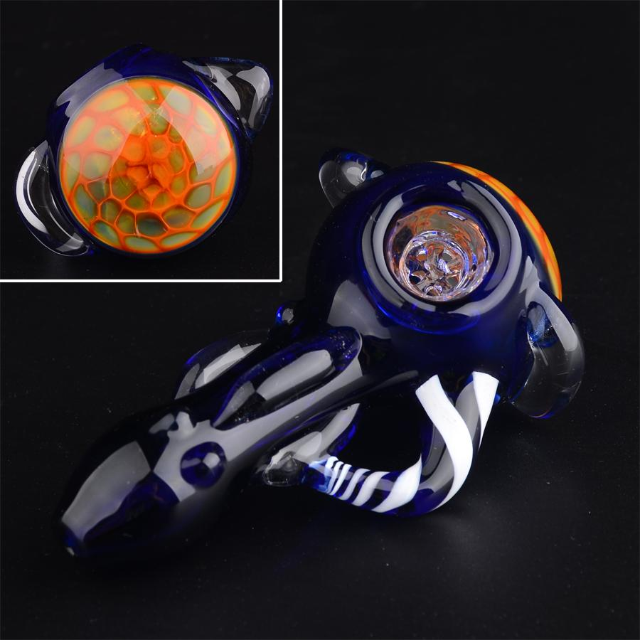3.5in GLASS PIPE Honeycomb head bowl Spoon tobacco pipes for Smoking Mini Hand Pipes Hammer Pipes Wholesale T22