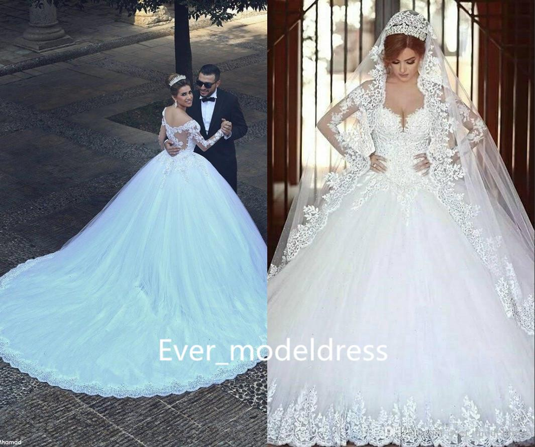 2018 Said Mhamad Lac Ball Gown Wedding Dresses Long Sleeves Scooped ...