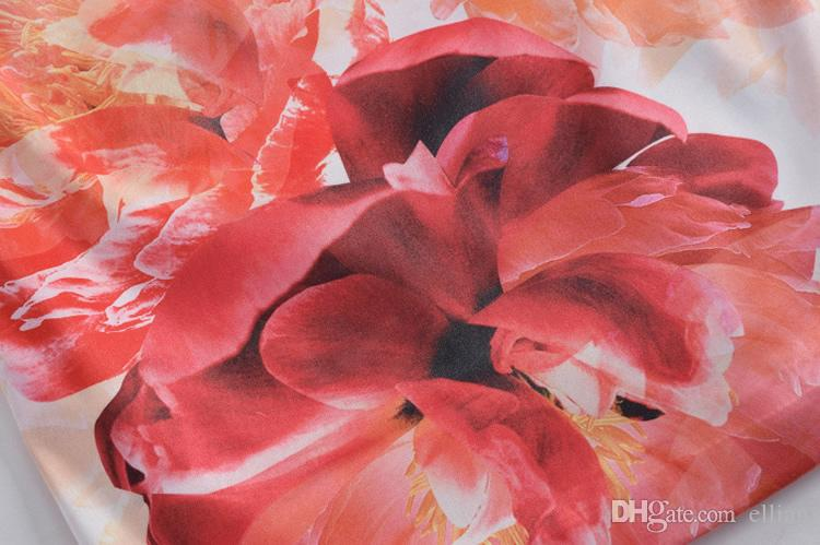 Luxury Women Flower Print Sheath Dress Cap-Sleeve Dresses 064A643