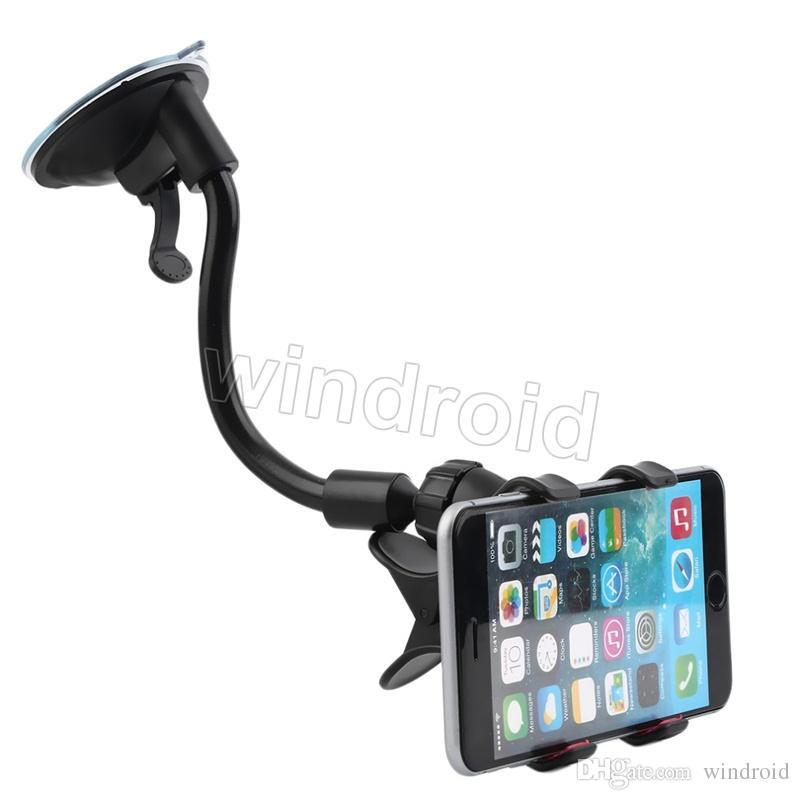 360 grados Brazo largo perezoso Universal Car soft tube Soporte de montaje de succión Soporte Doble V Clip para iPhone 7 i7 note5 teléfonos móviles + caja al por menor