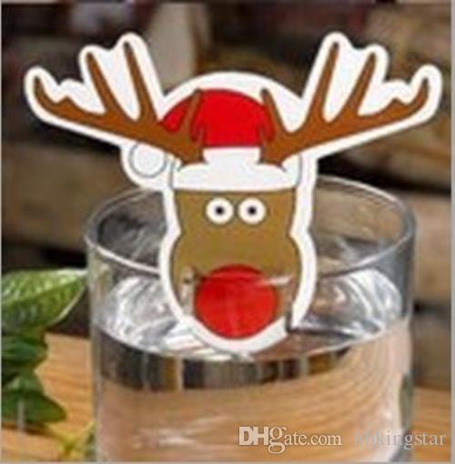 200 unids Pastel de Navidad Signo Bandera Copa de Vino Bandera Toothpicks Botella Decoración Santa Hat Claus Elk Decoraciones de Navidad