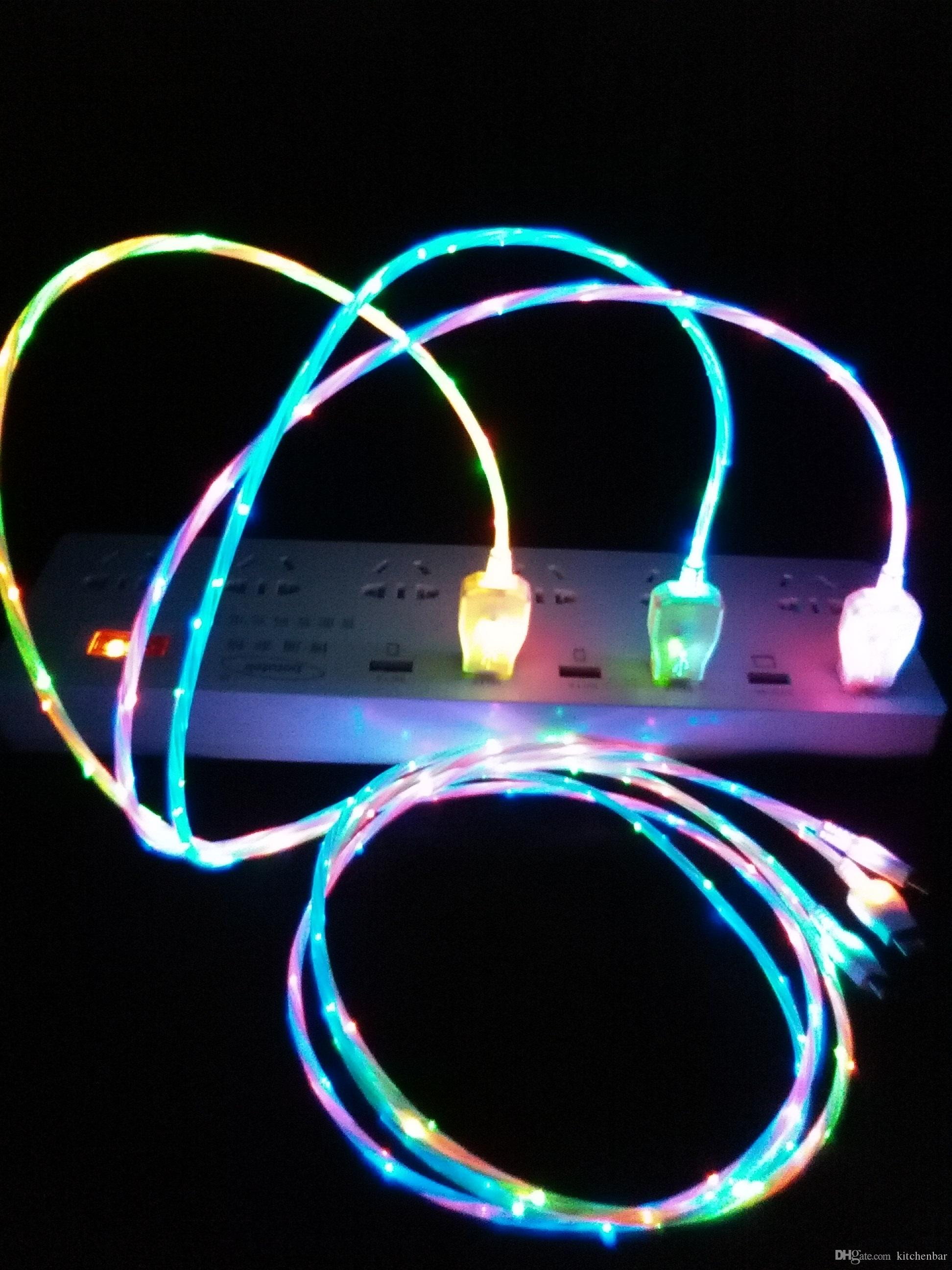 Double Color Light Up Data Cable Led Usb Charging Cool At Wiring Diagram5pin Micro Cableled Product On Night Freeshipping Wholesale