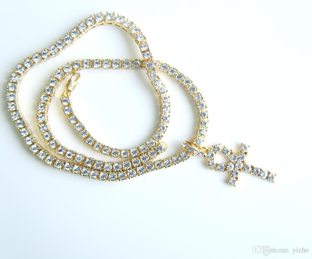 Ciondolo croce cz grande uomo gioielli hip hop con oro bianco placcato oro collana lunga catena da tennis gioielli regalo