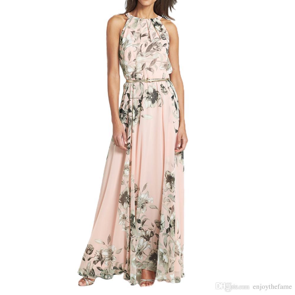 Großhandel 14 Sommer Stil Rosa Frauen Langes Kleid O Neck Blumendruck  Chiffon Maxi Kleid Elegante Beiläufige Boho Party Kleider Vestidos Mit  Gürtel