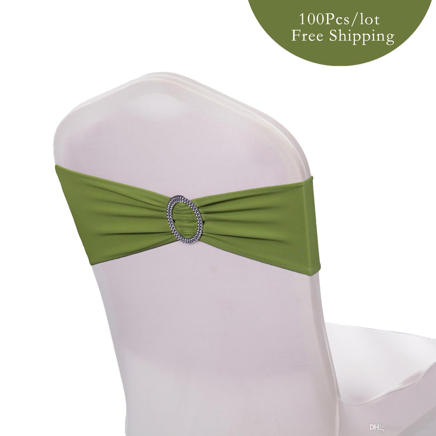 Hot Sale Wedding Chair Band Bow Spandex Lycra Wedding Chair Cover Sash Bands with Buckle Banquet Party wedding decoration
