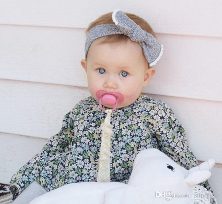 Nova Europa Moda Infantil Do Bebê Bowknot Headbands Crianças Meninas de Algodão Faixas de Cabelo Childrens Nó Acessórios Para o Cabelo 12 Cores 13624