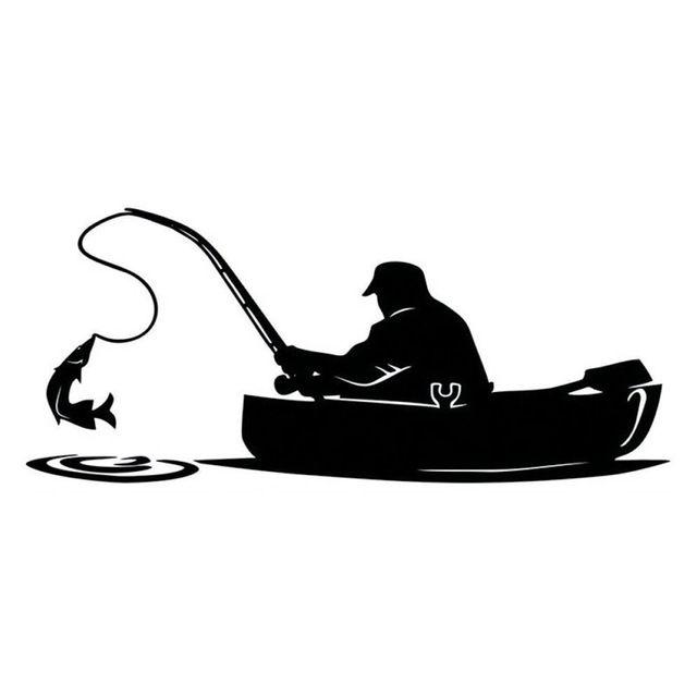 Autocollant de voiture de pêcheur de mode de pêche couvrant le corps d'intéressant autocollants en vinyle noir / blanc
