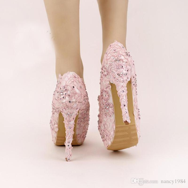 Pink Lace Prom Shoes Handmade Rhinestone Bridal Dress Shoes Platform Formal Shoes 5.5 Inches Comfortable Wedding Party Pumps
