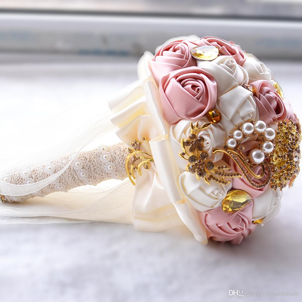 2019 New Style Fashion Wedding Bouquets Golden Brooch Pearls Beading Satin Roses Romantic Wedding Colorful Bridal Bouquets