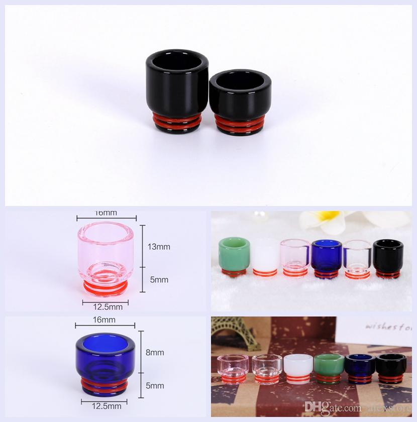 Pyrex Glass Drip Tip 810 Premium Glass Drip Tips 6 Colors Long Short Mouthpiece for 810 Thread Atomizers Tank RDA TFV8 Prince Vape