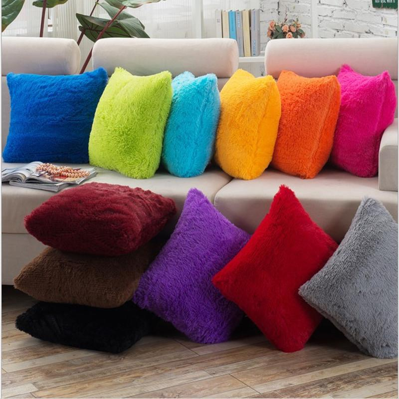 Candy Color Super Softer Plush Home Decor Cushion Linen Cotton