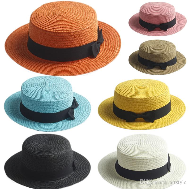 3e5277bf0f682 Adult Kids Boater Hat Bowknot Straw Hat Summer Jazz Beach Sun Sailor Cap 2  Sizes Knit Hats Bailey Hats From Artstyle