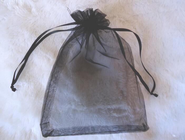 Mode Bijoux Noir Party Pochette cadeau de Noël Sacs cadeaux Sacs Noir organza mariage Party Favor
