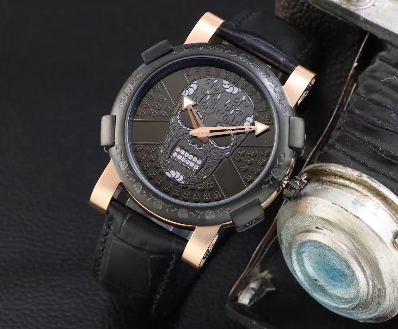 Newest Fashion Black and Rose Gold Stainless Steel Men Dress Wristwatches Quartz Skull Watch Men Gift Watches For Man