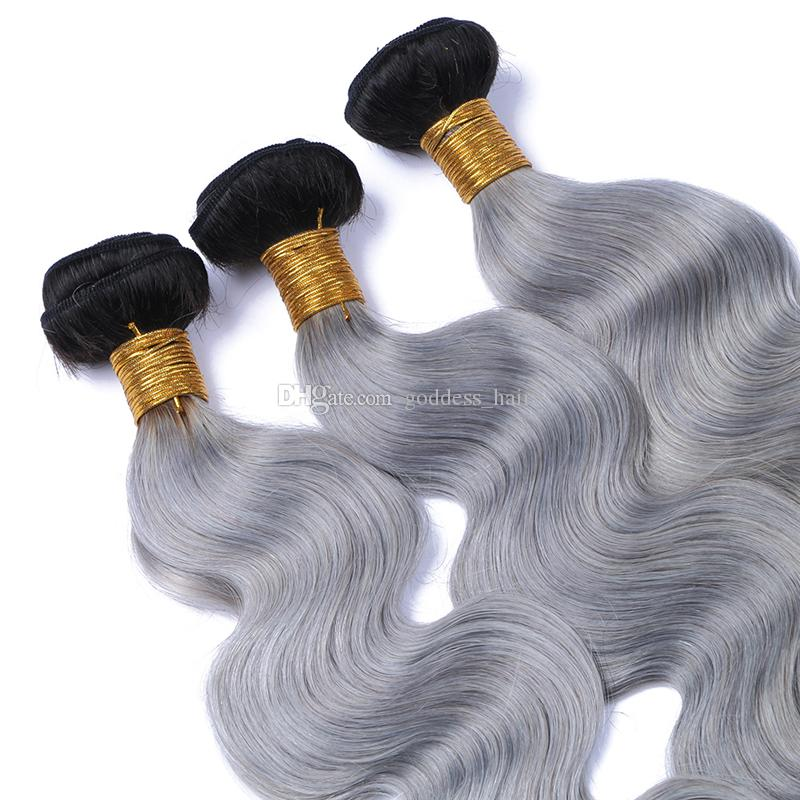 Nueva llegada de plata gris Ombre cabello humano 9A brasileña 1B gris Ombre paquetes de cabello / onda del cuerpo gris plata extensión del pelo