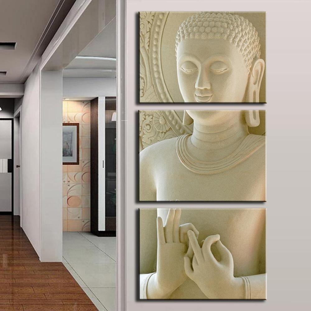 Modern Fashion Buddha Painting 3 Picture Home Decoration White Marble  Buddha Statues Art Canvas Painting Unframed Canvas Painting Home Decortion  Wall Art ...