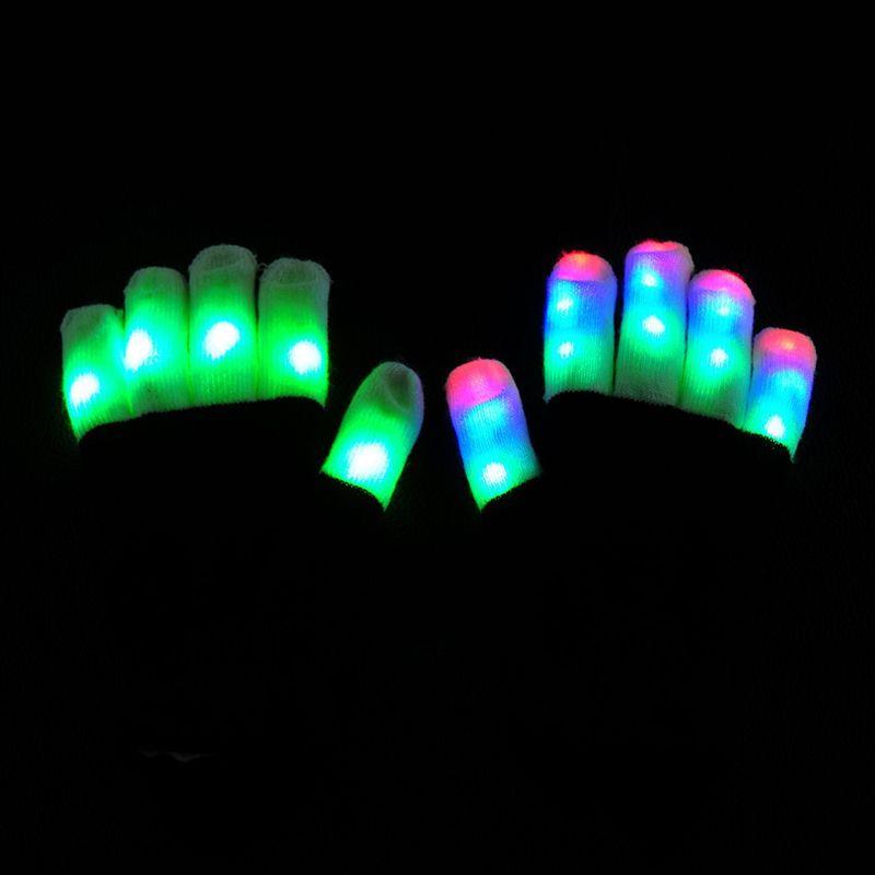 LED Gloves Flash Five Fingers Light Ghost Dance Black Bar Stage Performance colorful Rave Light Finger Lighting Gloves Glow Flashing