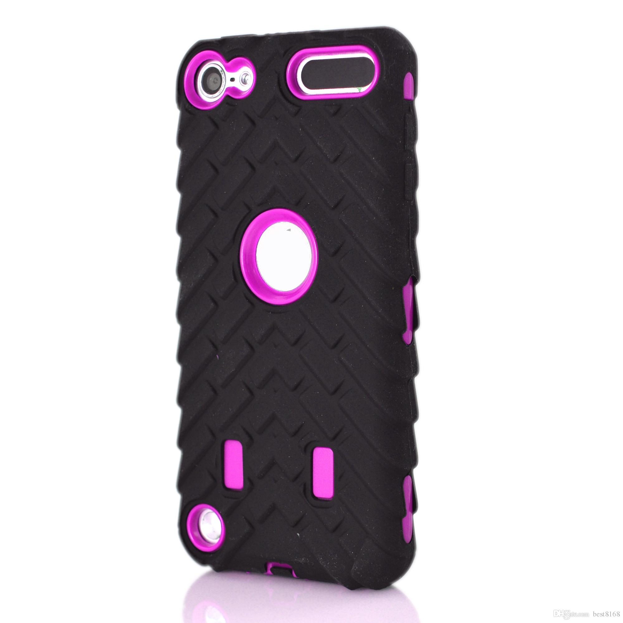 Neumático del neumático Vroom Hard PC Plastic + Soft Hybrid Layer Carcasa para Ipod Touch 6 6G 6to 5 5to Ipod6 Ipod5 Dual Color Car Tire Waterproof Skin